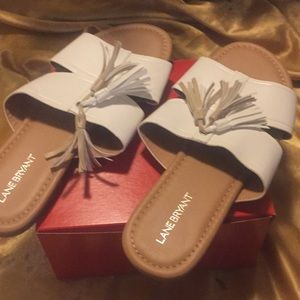 NWOT Lane Bryant White  and Beige Sandals
